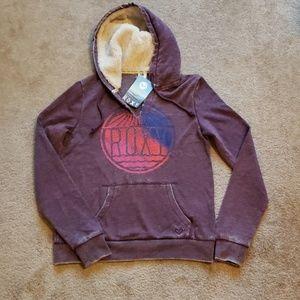 Roxy purple hoodie with sherpa lining in hood
